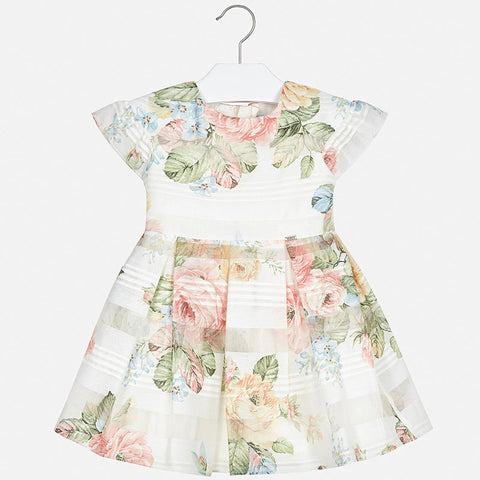 Short Sleeve Devore Flower Dress