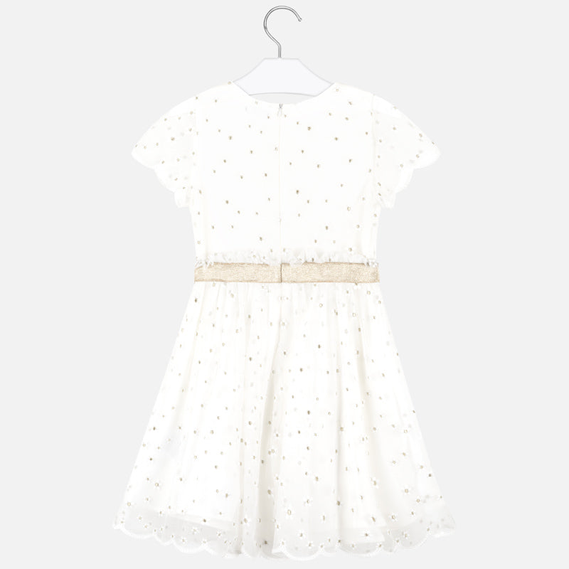 Off White and Gold Florettes Short Sleeve Dress