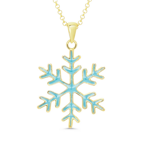 1527N, Snowflake Necklace in 18k Gold Over Sterling Silver