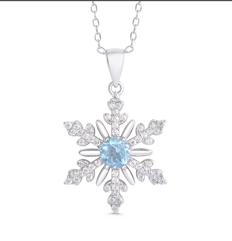 1526N, Blue Topaz and CZ Snowflake Necklace