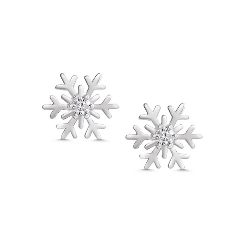 1849E, CZ Snowflake Stud Earrings