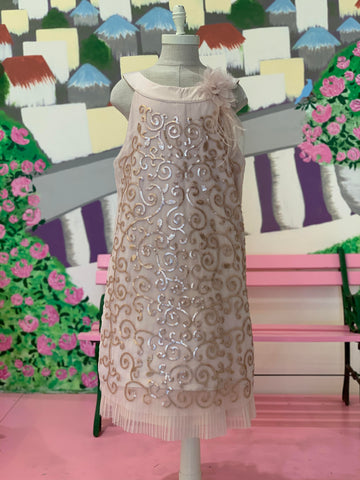 222GSD, Double tiered champagne embellished dress