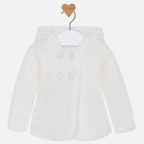 2313W Baby girl long cardigan with pompom