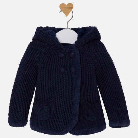 2313DB Baby girl long cardigan with pompom