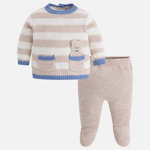 2505W Baby boy set of knit jumper and footed pants