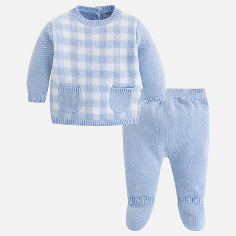 2505 Baby boy set of knit jumper and footed pants