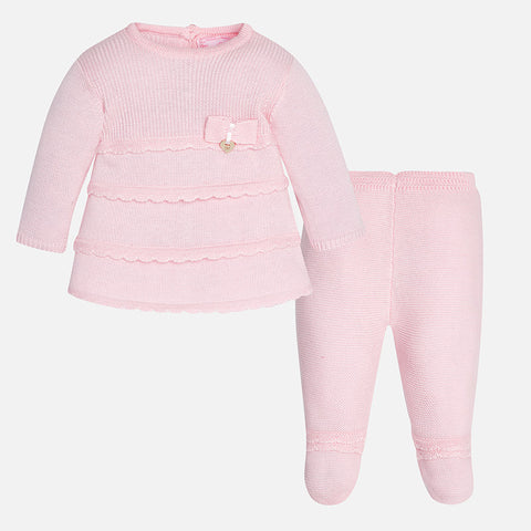 2515 Baby girl knit set with footed pants