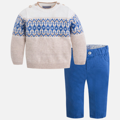2539 Baby boy jumper and twill pants set