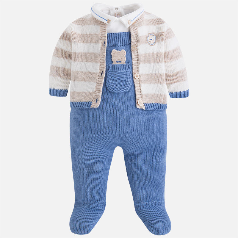 2627 Baby boy set of overalls and knit cardigan