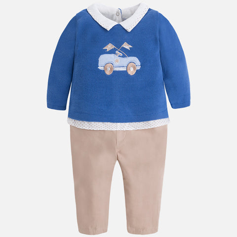 2641 Baby boy onesie with twill pants