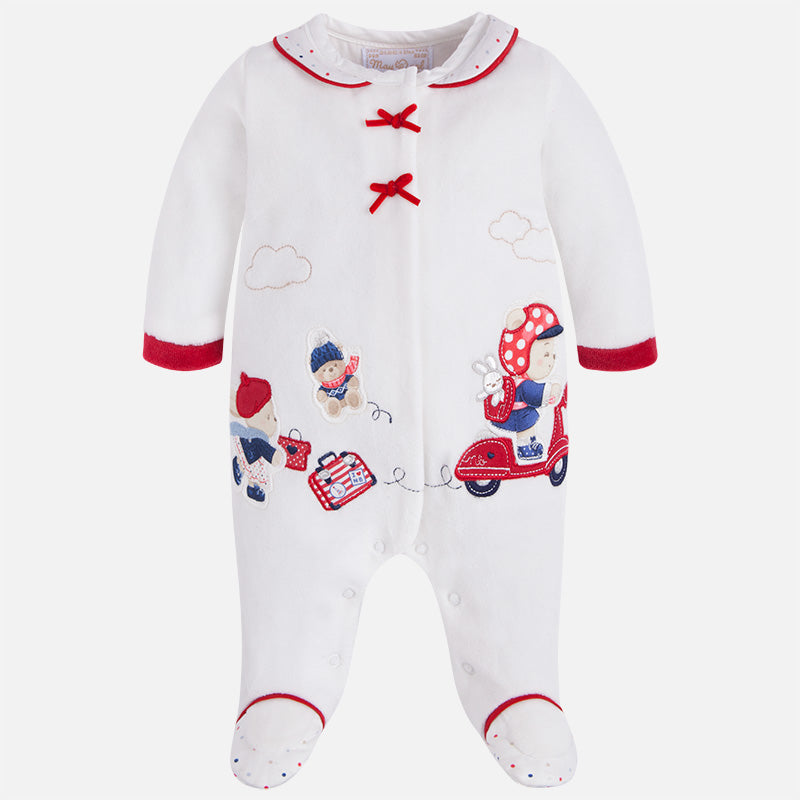 2743 Baby girl winter velour footie
