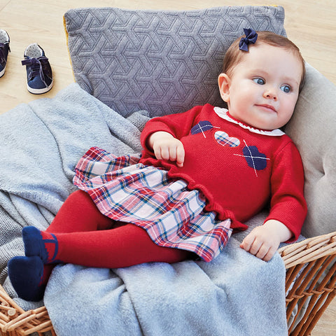 2855 Baby girl long sleeve dress with tartan skirt