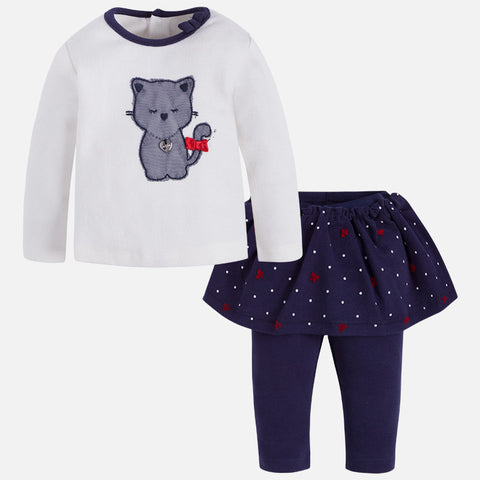 2865 Baby girl long set of t-shirt and overskirt