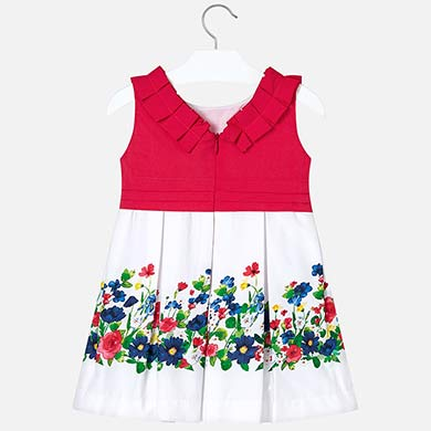 Dress with floral border for girl 3935