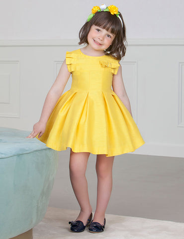 Shiny Pleated Yellow Dress