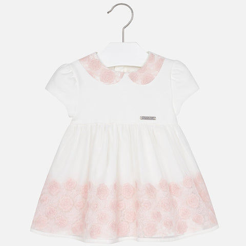 2917 Baby girl embroidered tulle short sleeve dress