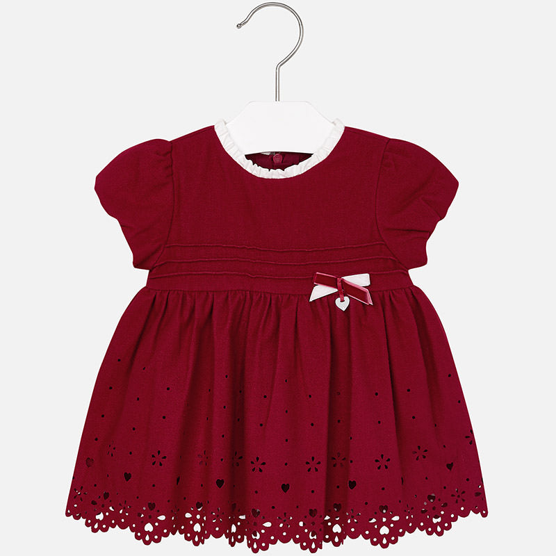 2937 Baby girl short sleeve dress with openwork flannel