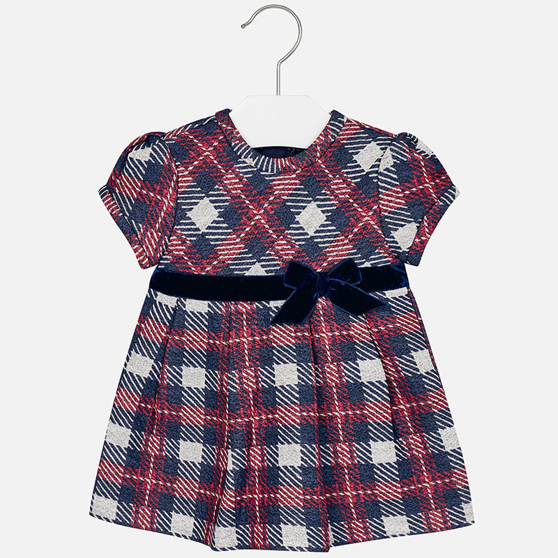 2943 Baby girl checkered short sleeve dress
