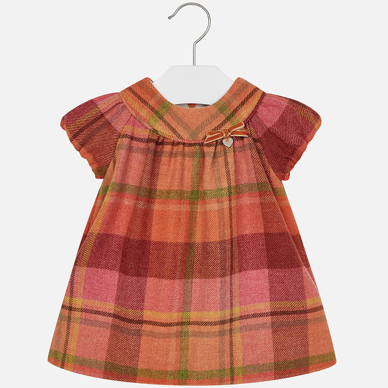 2949 Baby girl flannel checkered short sleeve dress