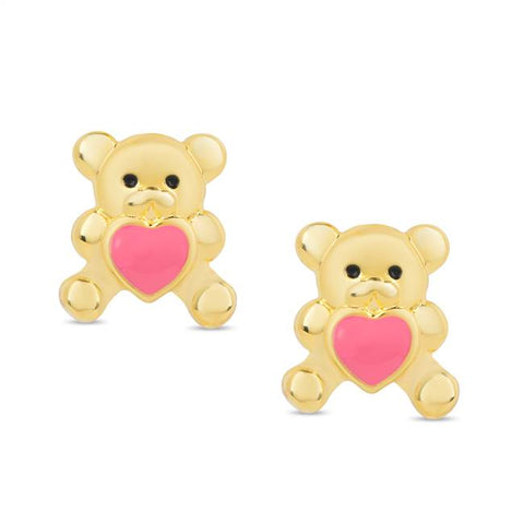379E-2T, Teddy Bear Stud Earrings