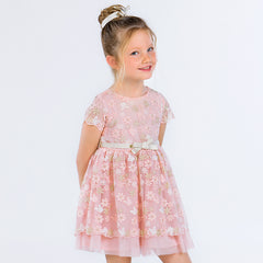 Dress with embroidery and bow 3918