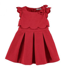Red Bow  Cotton Jacquard Dress
