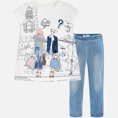Set of denim leggings and T-shirt 6532