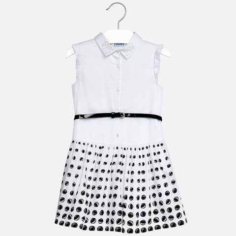 Polka dot dress with belt 6948