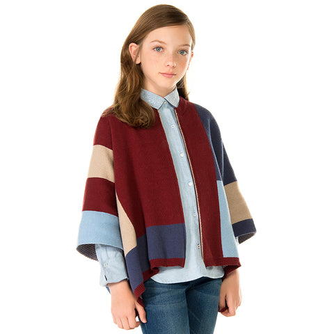 7327 Girl knit poncho with zip