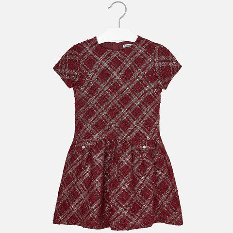 7925 Girl tweed short sleeve dress