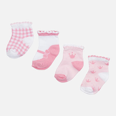 Set of 4 pairs of baby girl socks