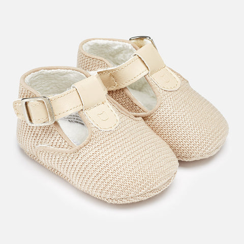 F179625 Baby boy faux fur lined pram shoes