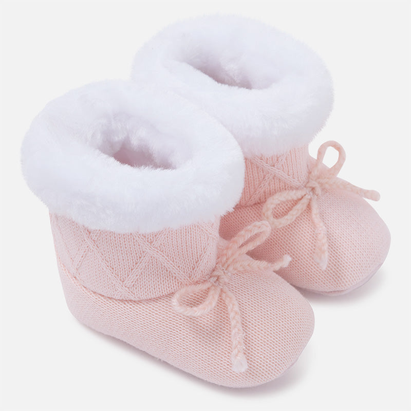 9626BR Baby knit pram boots with faux fur