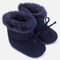 9626N Baby knit pram boots with faux fur