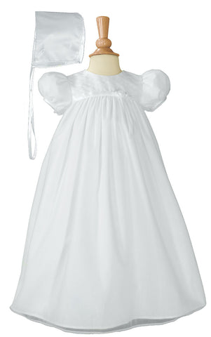 Baby Girls White Embroider Taffeta Christening Dress
