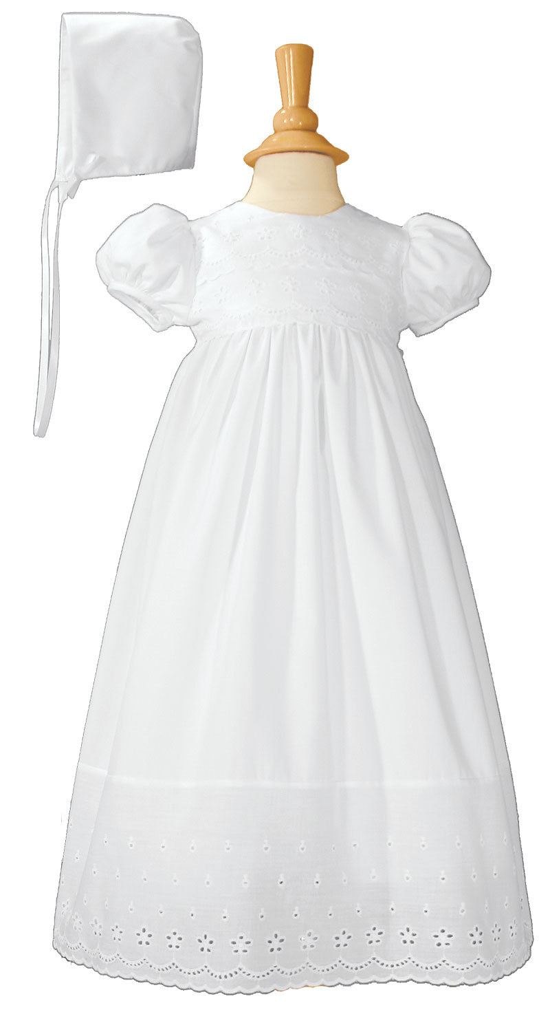 Girls White Cotton Christening Baptism Gown with Lace Border and Bonnet