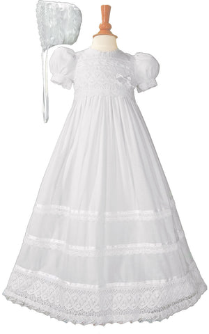 Girls Cotton Short Sleeve Dress Christening Baptism Gown with Lace and Ribbon