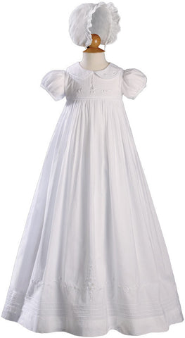 Girls 33″ Short Sleeve Gown with Hand Embroidery