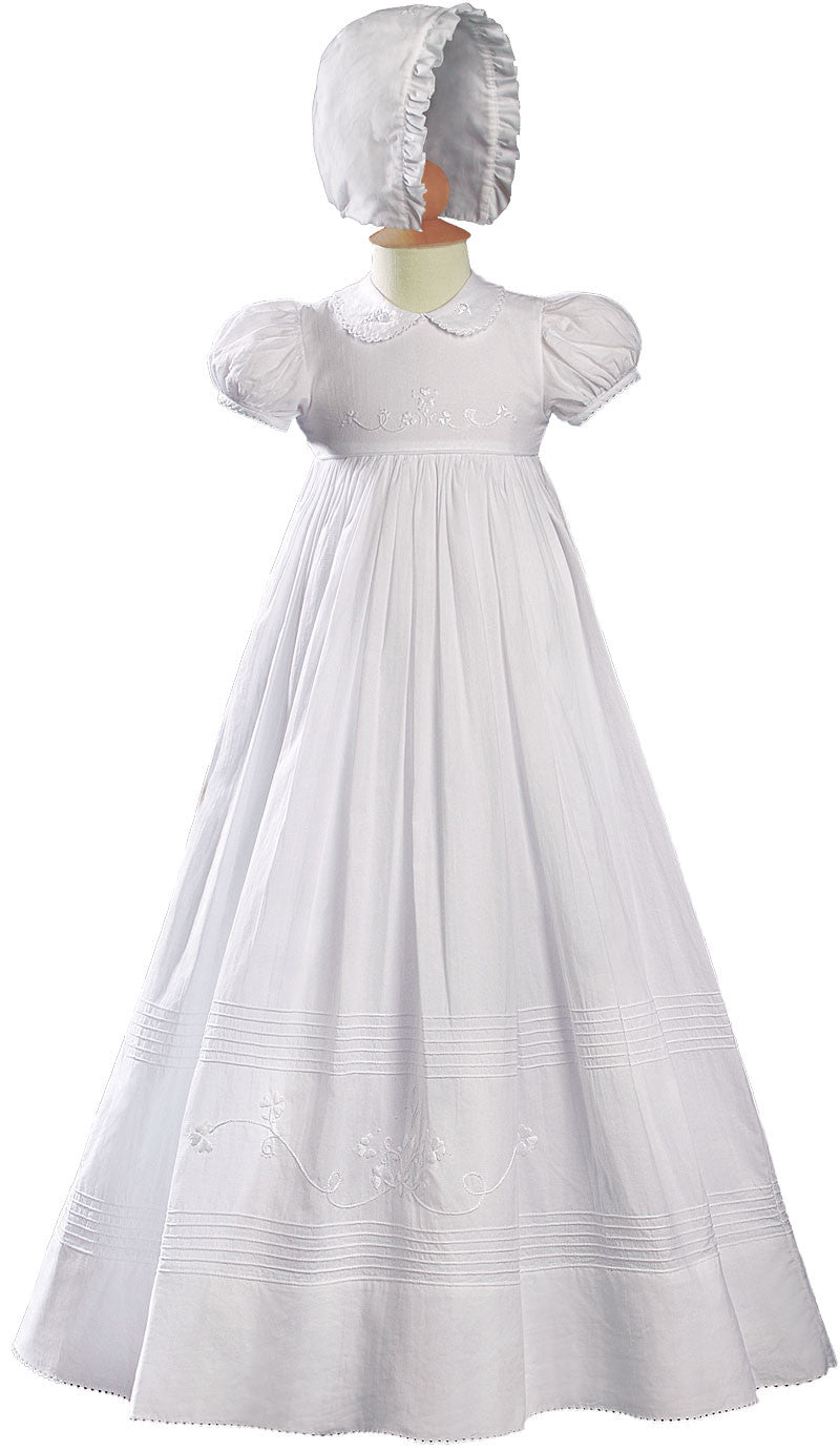 Girls 32″ White Cotton Short Sleeve Christening Baptism Gown with Floral Shamrock Embroidery