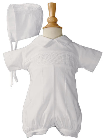CB938R-NBG Baby Boys White Cotton Smocked Baptism Outfit Set