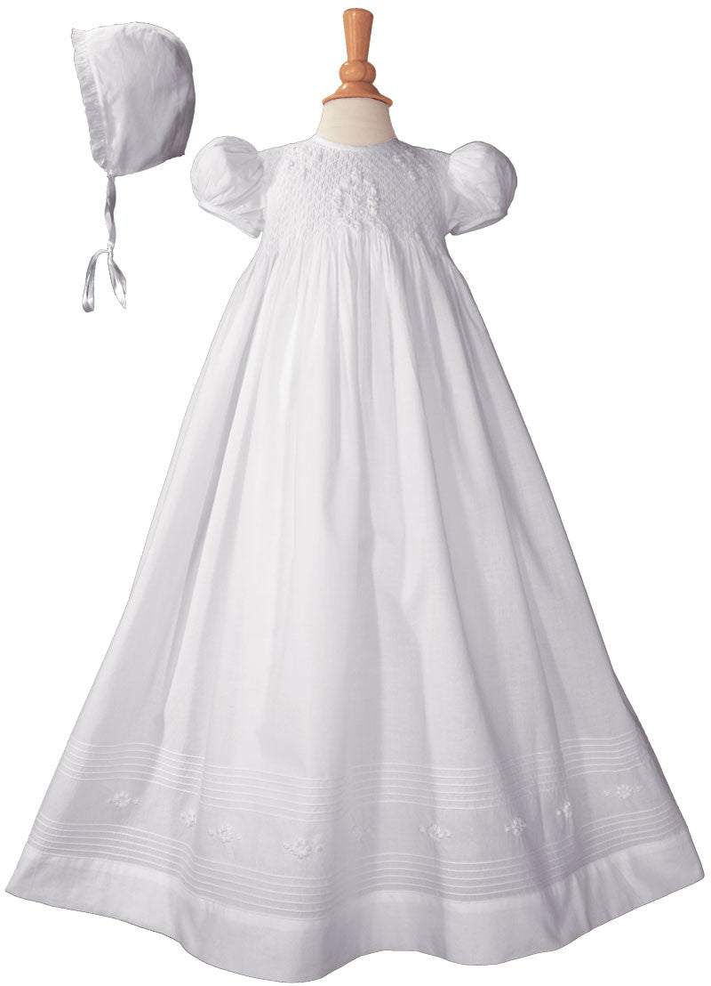 Girls 32″ Cotton Hand Smocked Christening Gown Baptism Dress with Hand Embroidery