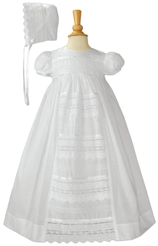 Girls 26″ Cotton Dress Christening Gown Baptism Gown with Venice Lace