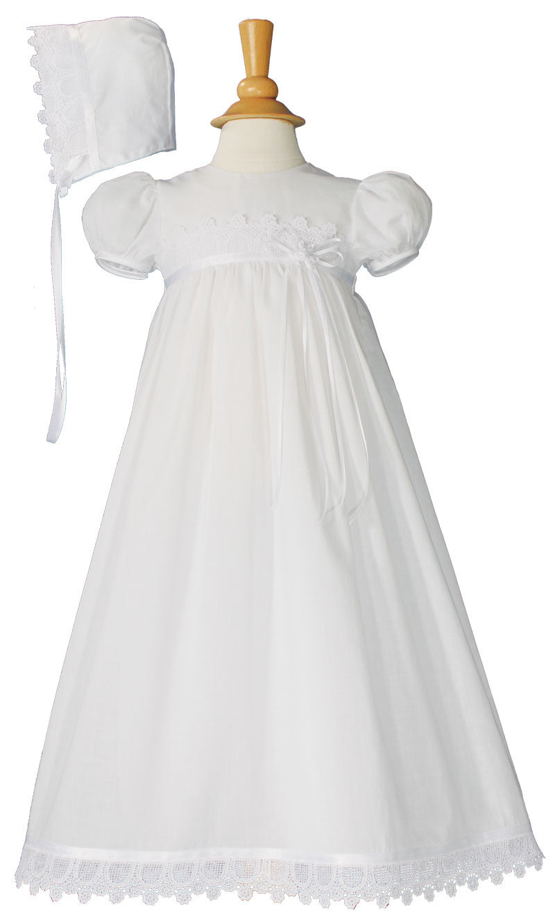 Girls 26″ Cotton Christening Gown with Italian Lace