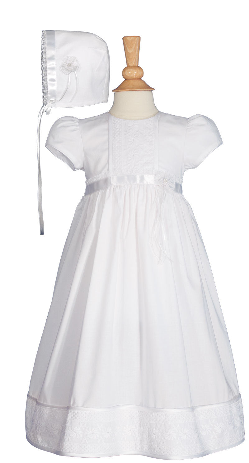 Girls 23″ Victorian Lace Heirloom Christening Gown with Handkerchief Hem