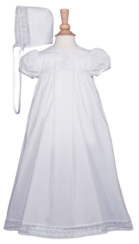 Girls 25″ Victorian Style Cotton Christening Baptism Gown