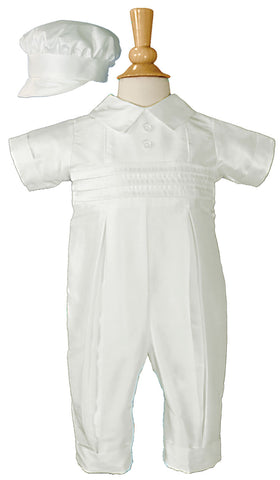 Boys White Silk Christening Baptism Coverall w/Hat
