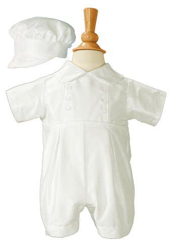 Boys Silk Christening Outfit Christening Baptism Romper with Bonnet Hat