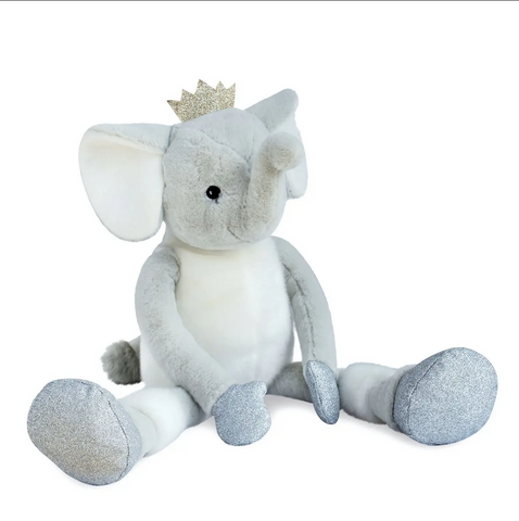 HO2851, Elfy Elephant Stuffed Animal w/Gold Crown 13.8""