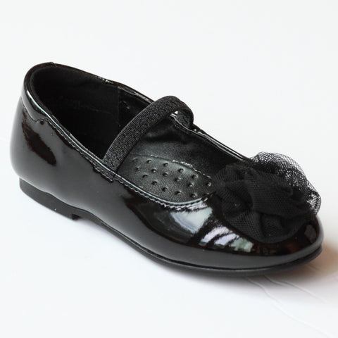 Dressy patent Flat shoes with organza flower applique