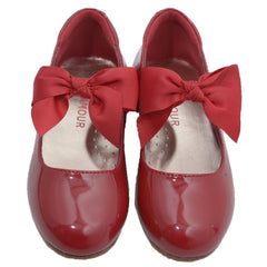 Dressy patent shoes with grosgrain bow